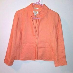 Talbots Irish Linen Jacket Open front Peach Lined